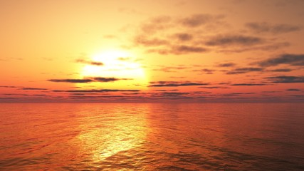 Illustration of a glowing golden sunset over a calm ocean