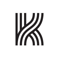K letter formed by parallel lines.