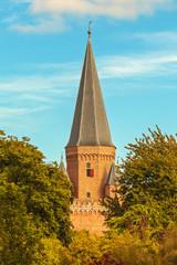 """View at the medieval Dutch """"Drogenapstoren"""" tower in Zutphen"""