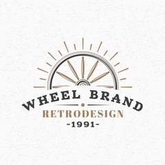 Wooden Wheel. Vintage Retro Design Elements for Logotype, Insignia, Badge, Label. Business Sign Template. Textured Background