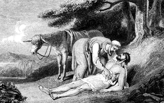 An engraved vintage illustration image of  the parable of the Good Samaritan, from a Victorian book dated 1836 that is no longer in copyright