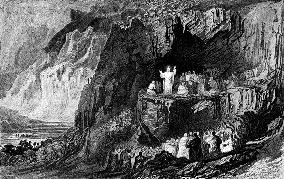 An engraved vintage illustration image of  Jesus at the Sermon on the Mount from a Victorian book dated 1836 that is no longer in copyright