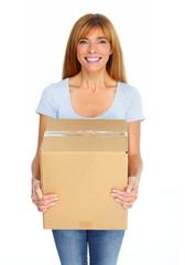 Beautiful lady with moving box.