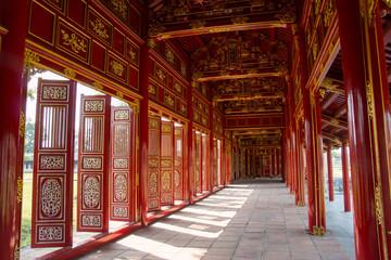 Aluminium Prints Artistic monument Red shutters and doors in the citadel of Hue, Vietnam