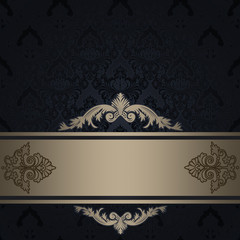 Black vintage background with gold border.