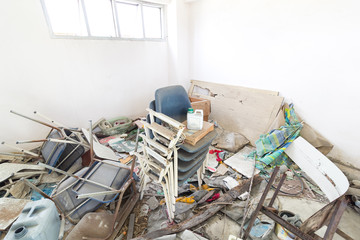 Dirty storeroom and Abandoned object