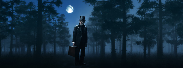 Dickens Scrooge Man with Suitcase in Foggy Winter Forest at Moon