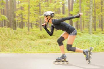 Roller skater in action