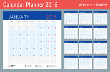 Calendar Planner for 2016 Year. Vector Stationery Design Print Template. Square Pages with Place for Notes. Week Starts Monday. Set of 12 Months
