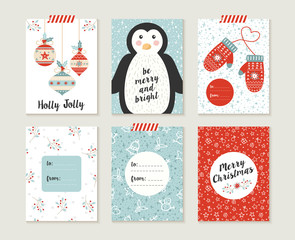 Merry christmas card set pattern retro cute bauble