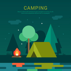 Mountain Camp. Tourist Tent and Bonfire on the Shore at Night.  Vector Illustration in Flat Design Style for Web Banners or Promotional Materials