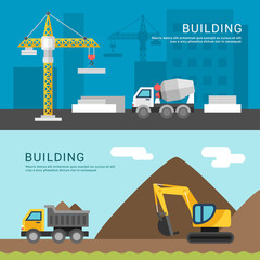 Building Concept. Crane and Cement Mixers. Dump Truck and Excavator. Vector Illustration in Flat Design Style for Web Banners or Promotional Materials