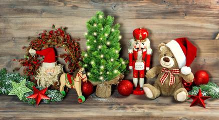 Christmas decoration antique toys Teddy Bear Nutcracker