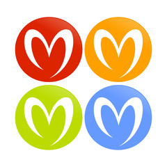 Love M Shape Abstract Circle Icons