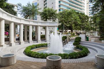 Fountain at the Hong Kong Park in Hong Kong, China.