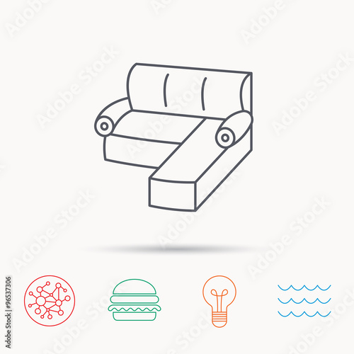 Corner Sofa Icon Comfortable Couch Sign Stock Image And Royalty