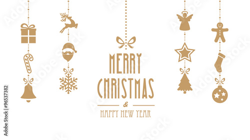 Merry Christmas Ornaments Hanging Gold Isolated Background