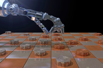 Robot hand playing a game of checkers (draughts), 3D rendering. 100 square, international board with metallic coper and nickel squares. Representing the blending of tradition and technology.