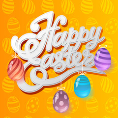Happy Easter lettering and colorful glass eggs