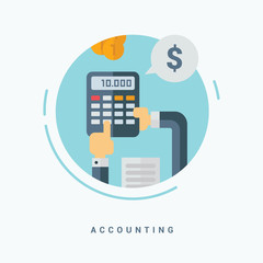 Flat Style Vector Illustration. Accounting Concept. Human Hands with Calculator