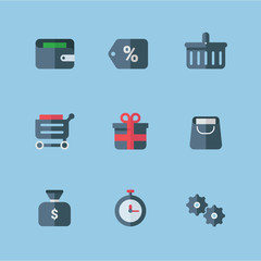 Set of Flat Style Vector Shopping Icons. Gray and Red Colors. Gift, Money, Gears, Discount, Time, Wallet, Basket