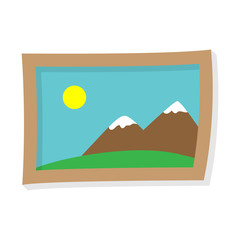 Painting of mountains and the sun