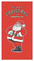 Vintage retro Christmas card. Old-fashioned Santa Claus smiling on the red background.