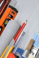Tools used for wallpapering, renovation and repair at home