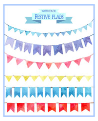 Set of watercolor festive flags. Garlands of flags. Watercolor illustration.