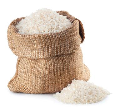 rice in burlap bag