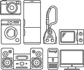 Household appliances. Refrigerator, microwave, washing machine, camera, vacuum cleaner, computer, stereo. Vector icon set