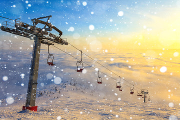 Ski lift on bright winter day