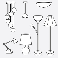 vector of lamp collection, types of lighting