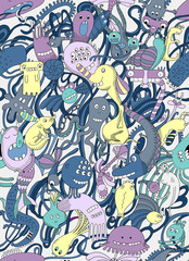 Seamless pattern of monsters.Abstract, cartoon design. world doodles and monsters.