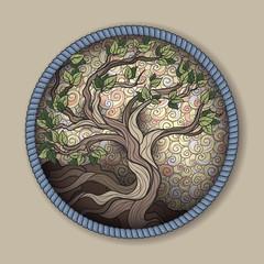 Bonsai tree in round frame