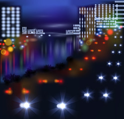blurred lights in city night. Vector illustration