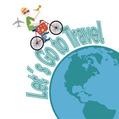 let´s go travel illustration over color background