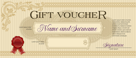 Gift Voucher with Floral Ornament Beige