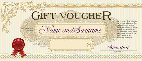 Gift Voucher with Floral Ornament Light Beige