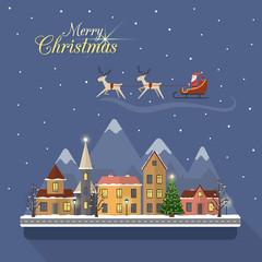 Christmas winter city street with Santa