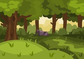 Summer day forest cartoon vector background