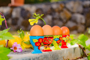 Row of four boiled eggs in colorful egg cups natural background