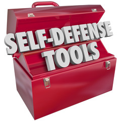 Self-Defense Tools Red Metal Toolbox 3d Words