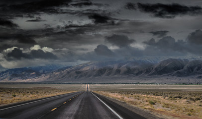 NV-in the vicinity of Fallon. Stormy and dark skies. Wall mural