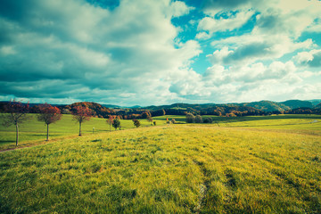 Panorama of foothill valley in the autumn.Saxon Switzerland, Germany.Toned image