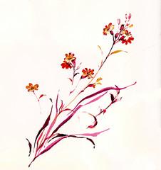 줄기와 잎새의 흐름이 동양적으로 표현된 한떨기 야생화