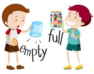 Boy with empty jar and boy with full jar