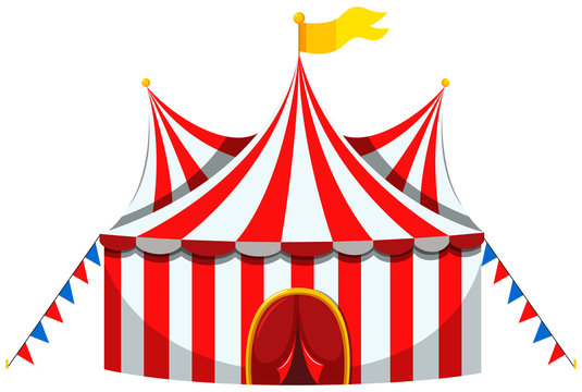 Circus tent in red and white striped