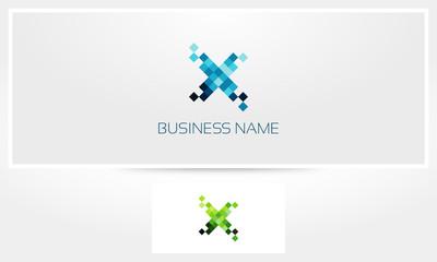 Letter X Pixel Eroded Logo
