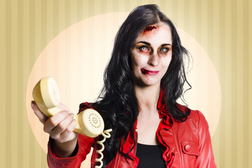 Zombie business person handing over bad news phone